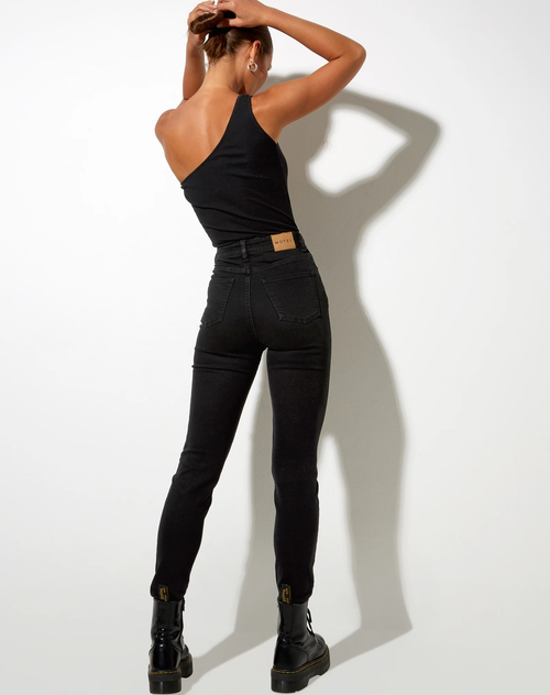 Tessa Slim Fitted Jeans in Wash Black