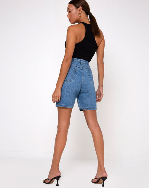 Emelia Casual Wear Going Out Denim Jeans Shorts in Blue Wash
