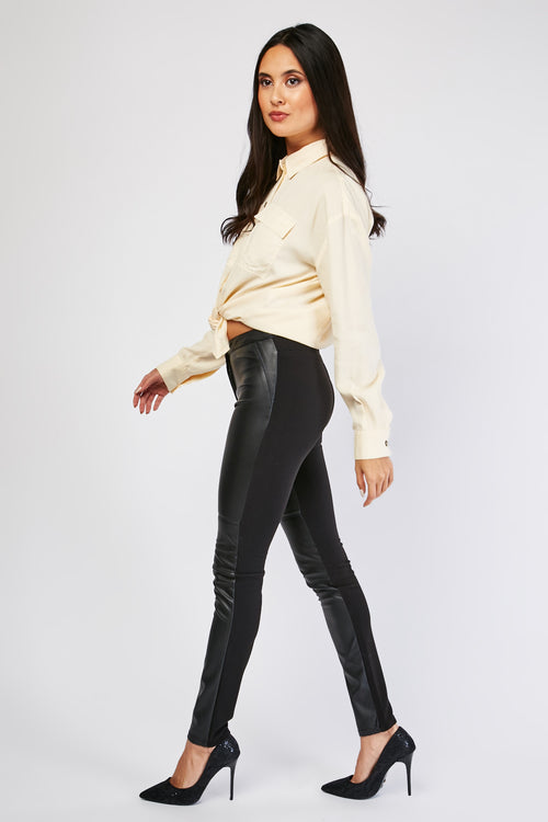 Esther Contrast Faux Leather Look Panel Women's Trousers-Woven Trends