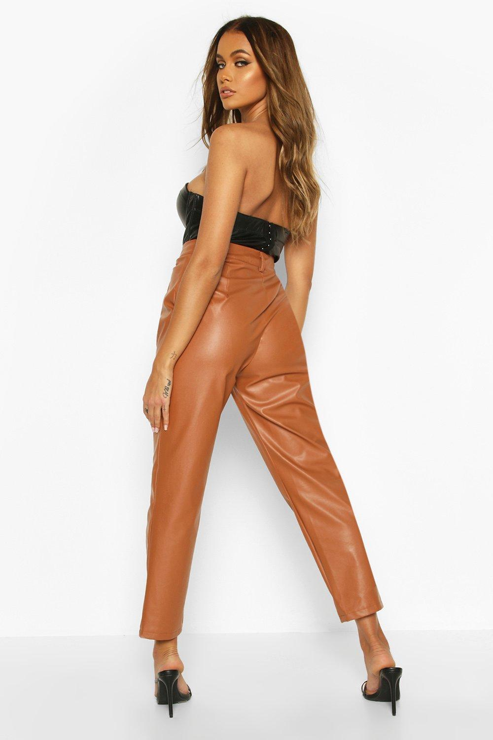 Caroline  Tailored Fit Leather Look Vinyl Ankle Grazer Trousers - Woven Trends