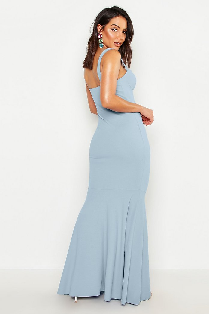 Celestine Cup Bust Fishtail Pleat Prom Maxi Dress-Woven Trends