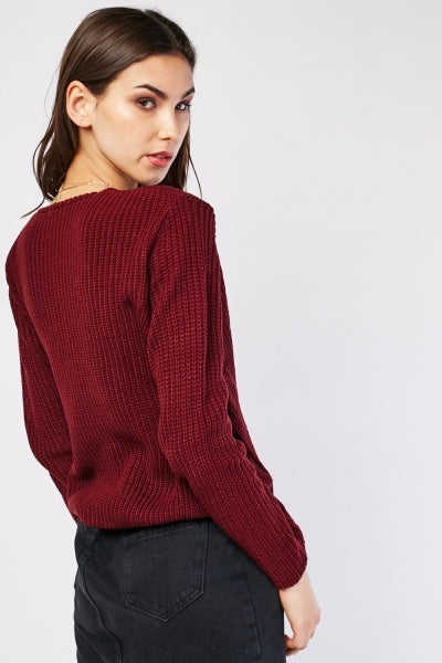 Alaina Knitted Wrap Front Jumper-Woven Trends
