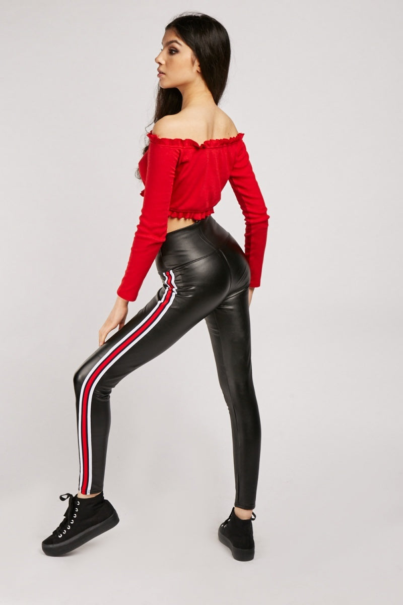 Kaylen Slim Panel Strip Leather Leggings-Woven Trends