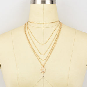 Kelly Virgin Madonna Multi Layer Pendant Necklace-Woven Trends