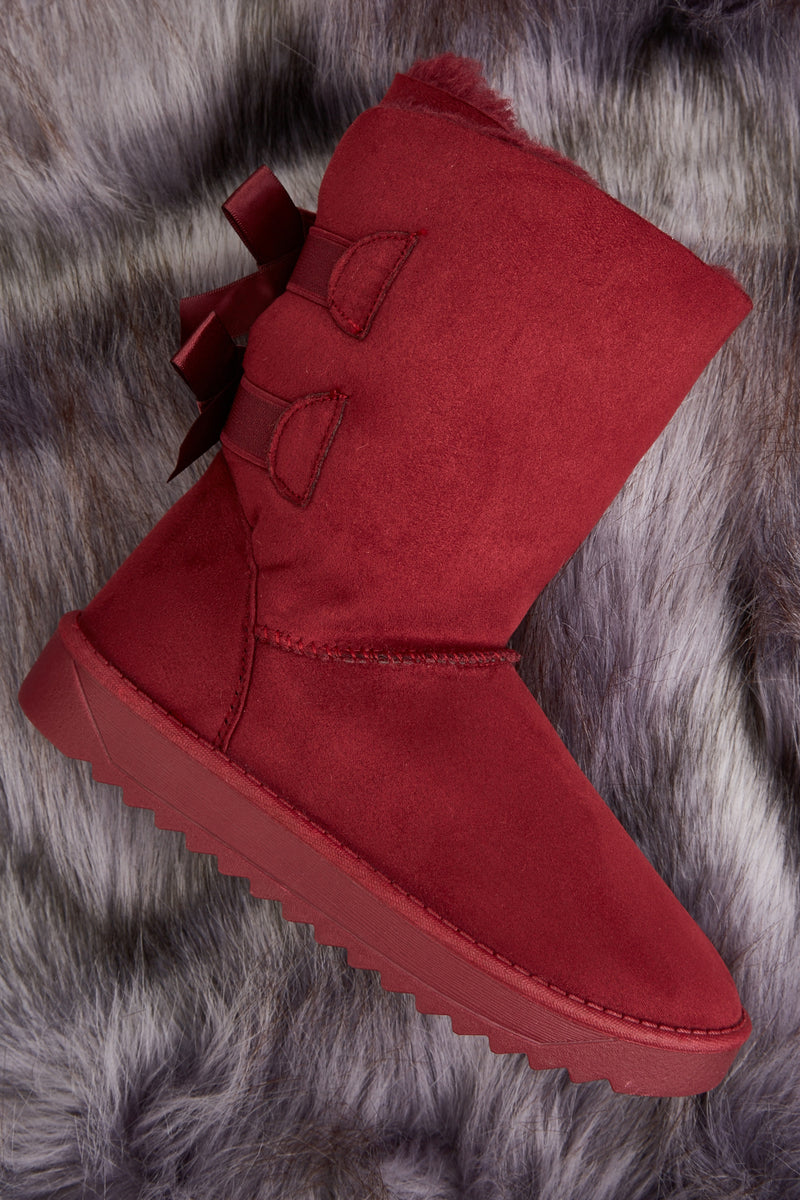 Payten Back Bow Detailed Winter Girl Boots-Woven Trends