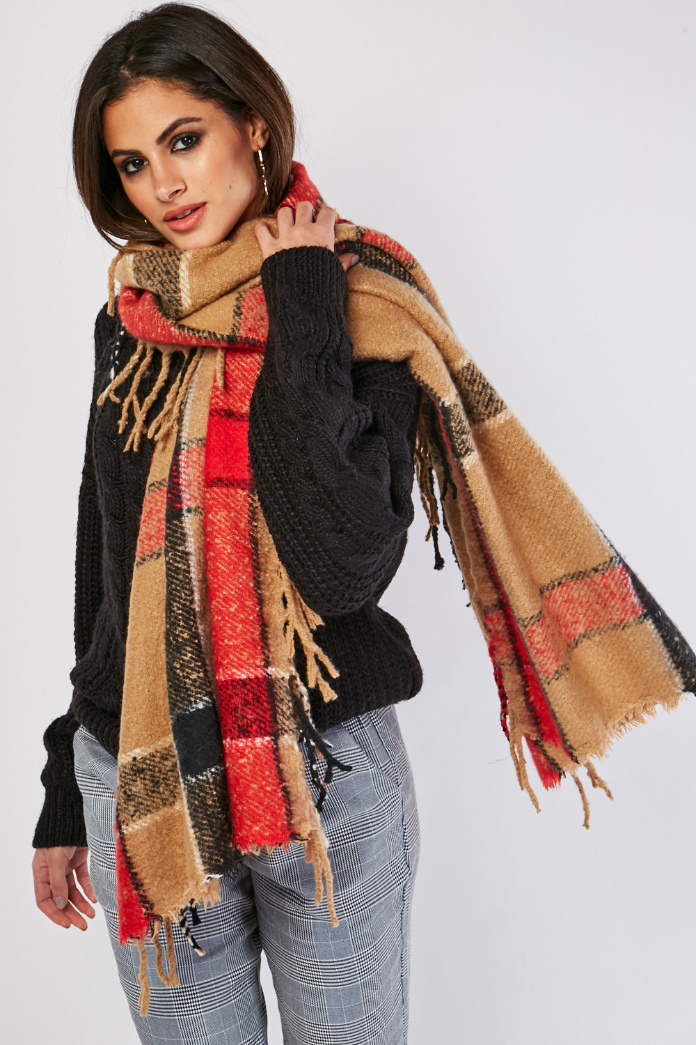 Jaqueline Plaid Checkered Fringed Scarf-Woven Trends