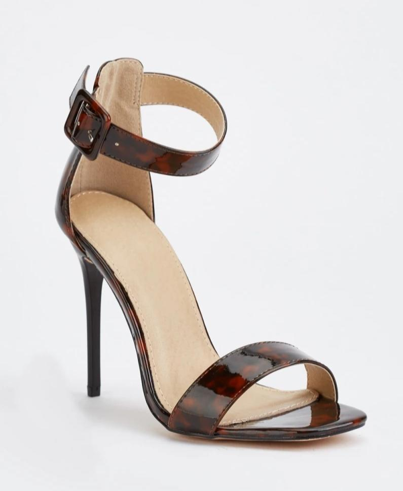 Caylee Shell Print Heel Sandals-Woven Trends