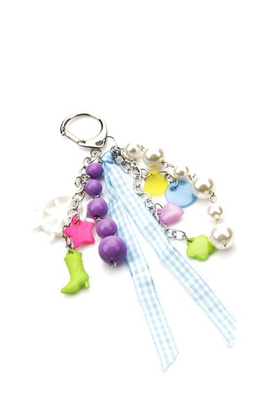 Sarah Pearl and Charm Detailed Key Ring Key Chain-Woven Trends
