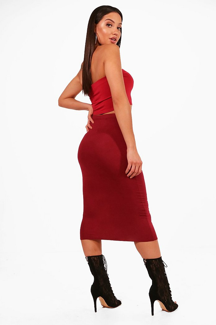 Jaylyn Bodycon Fitted Jersey Midi Skirt-Woven Trends