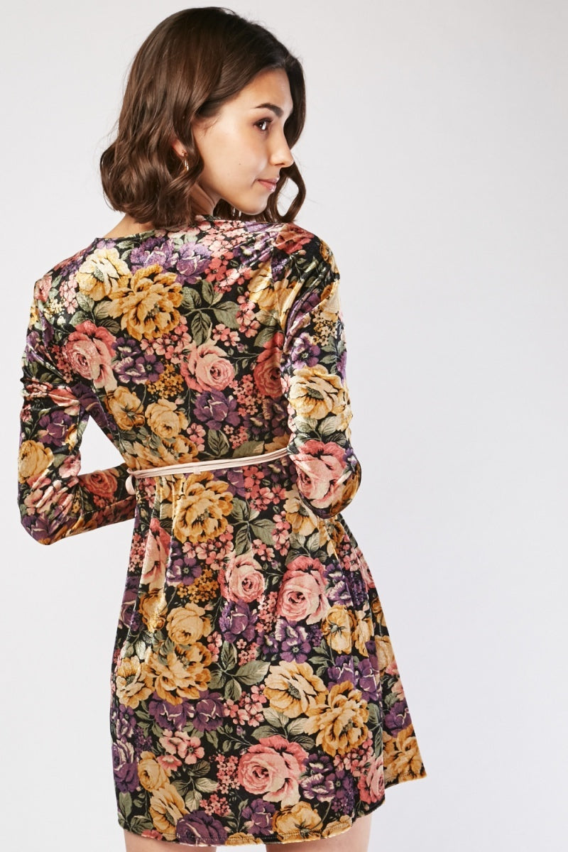 Anabella Floral Print Velveteen Wrap Dress