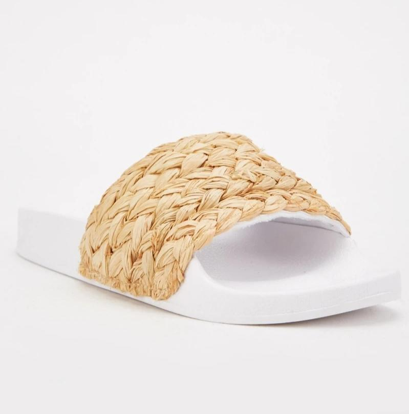 Eliana Plait Straw Casual Sliders-Woven Trends