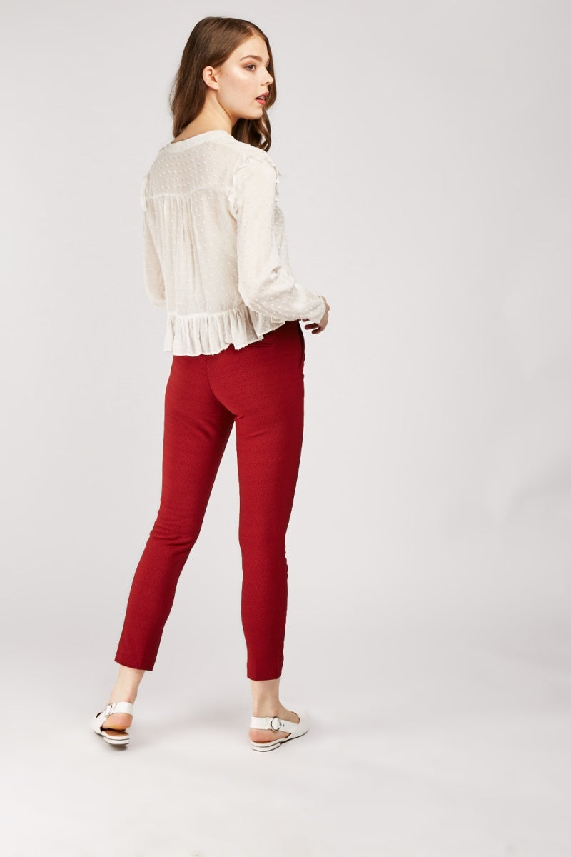 Layla Slim Fitted Ankle Grazer Trousers-Woven Trends