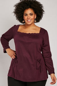 Jamie Frill Front Plus Size Smock Blouse Top-Woven Trends