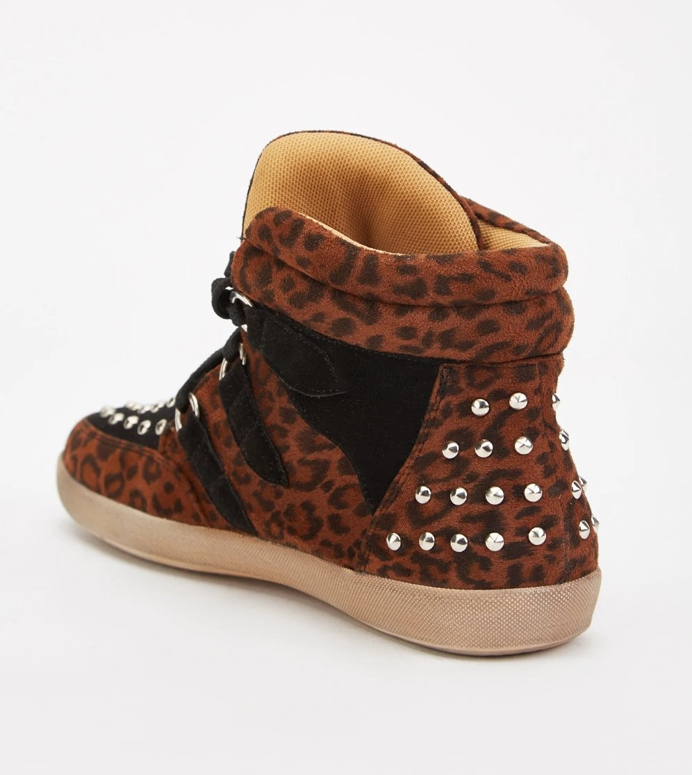 Abbey Studded Detail Leopard Print High Top Sneakers-Woven Trends