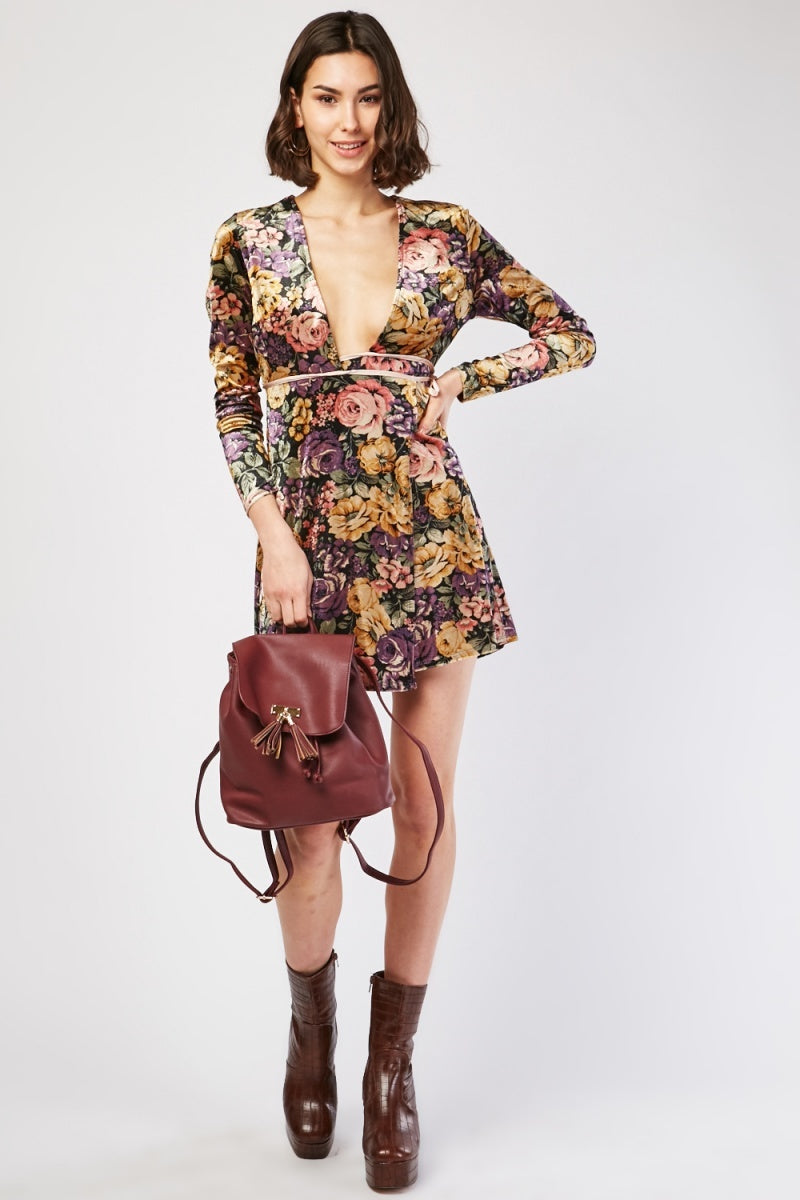 Anabella Floral Print Velveteen Wrap Dress-Woven Trends