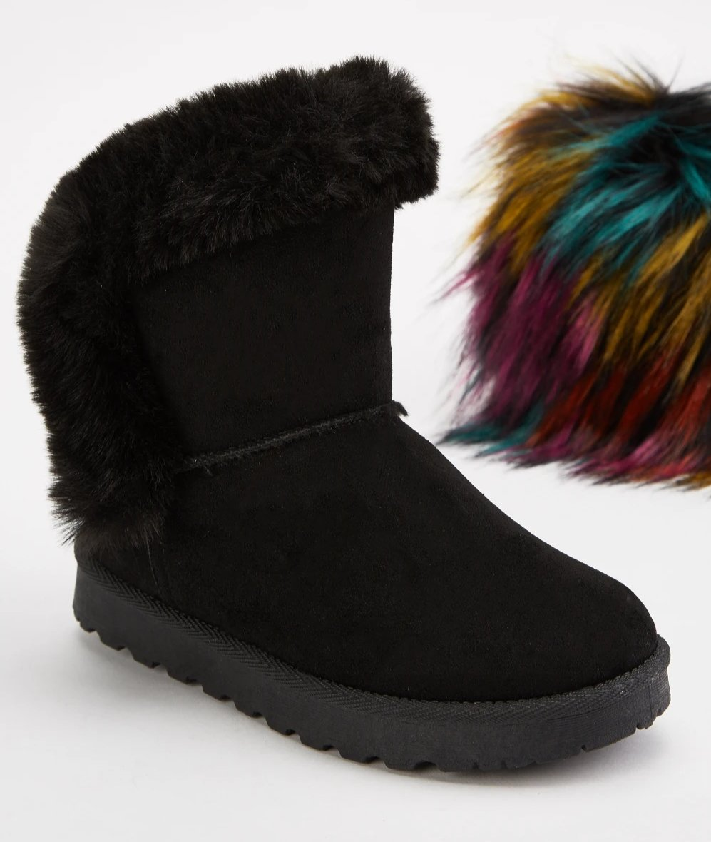 Janice Faux Fur Lining Suedette Girl Boots-Woven Trends