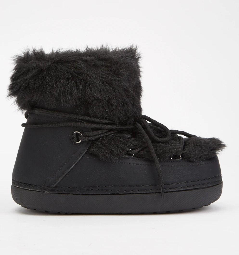 Helena Faux Fur Trim Winter Girl Boots-Woven Trends