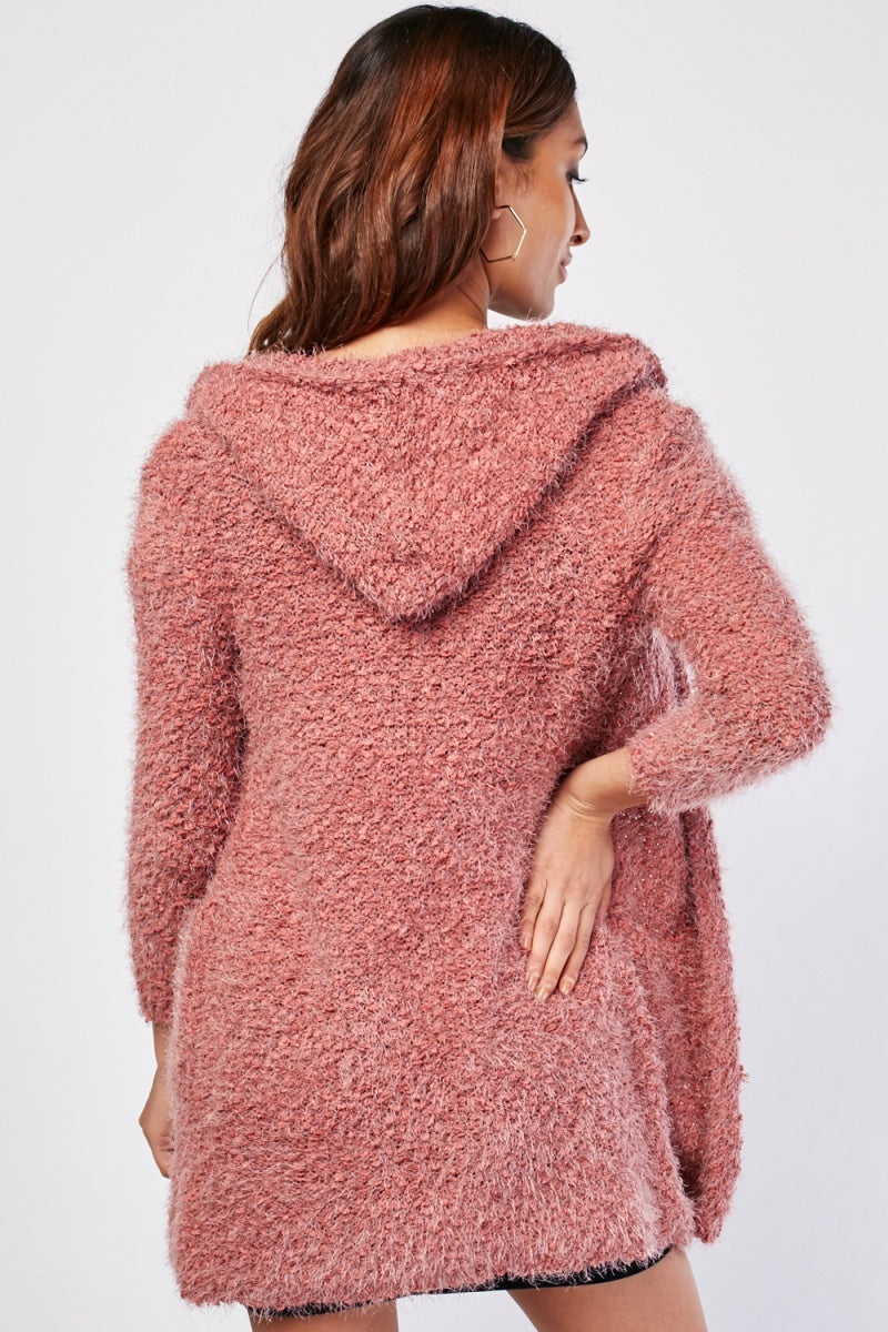 Talia Eyelash Hooded Open Front Cardigan-Woven Trends