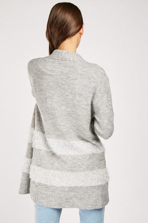 Zoie Striped Panel Knit Open Front Cardigan-Woven Trends