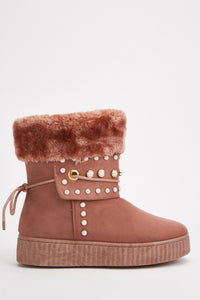 Adalynn Faux Pearl Studded Fur Trim Winter Girl Boots-Woven Trends