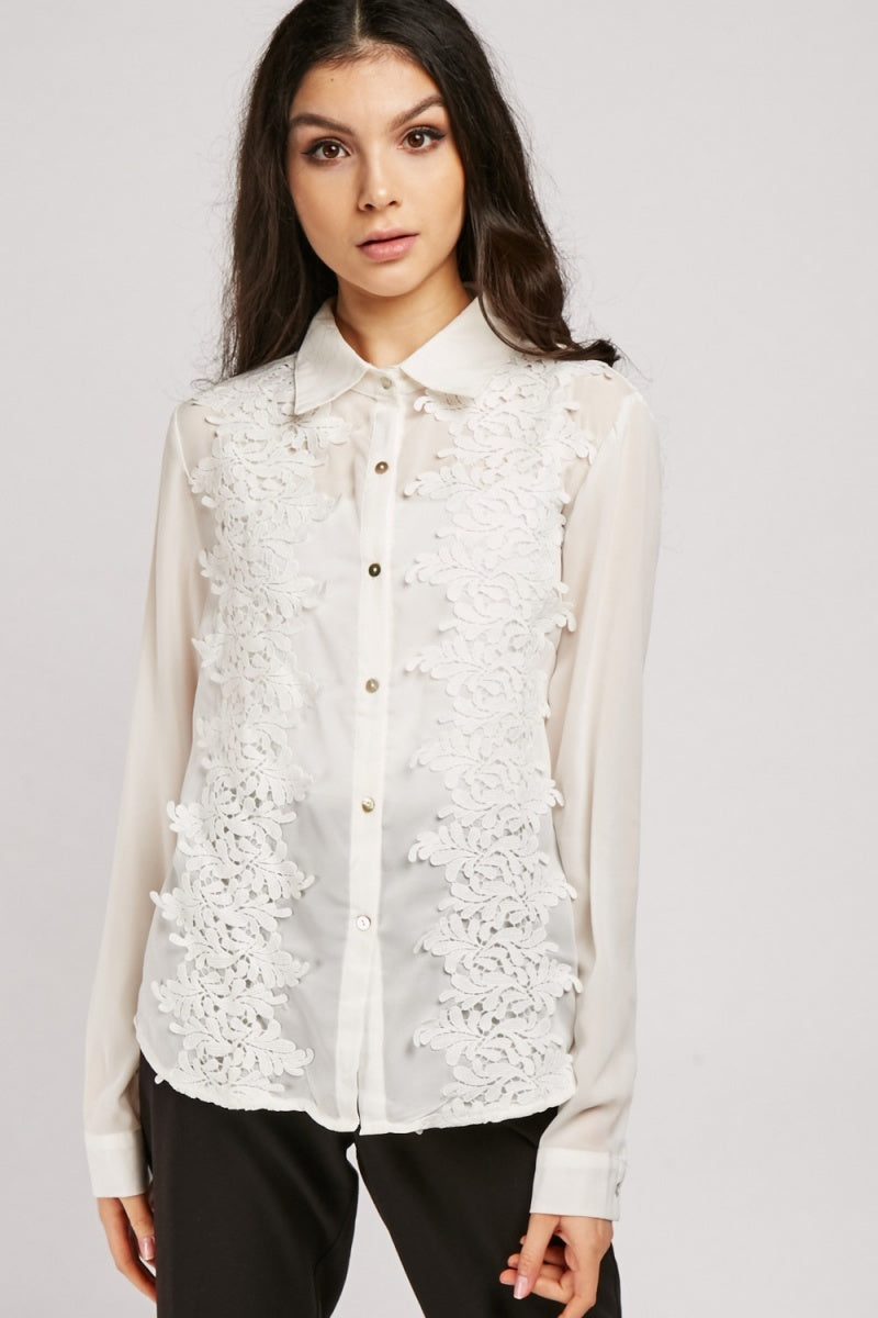 Audrey Crochet Styled Sheer Chiffon Top-Woven Trends