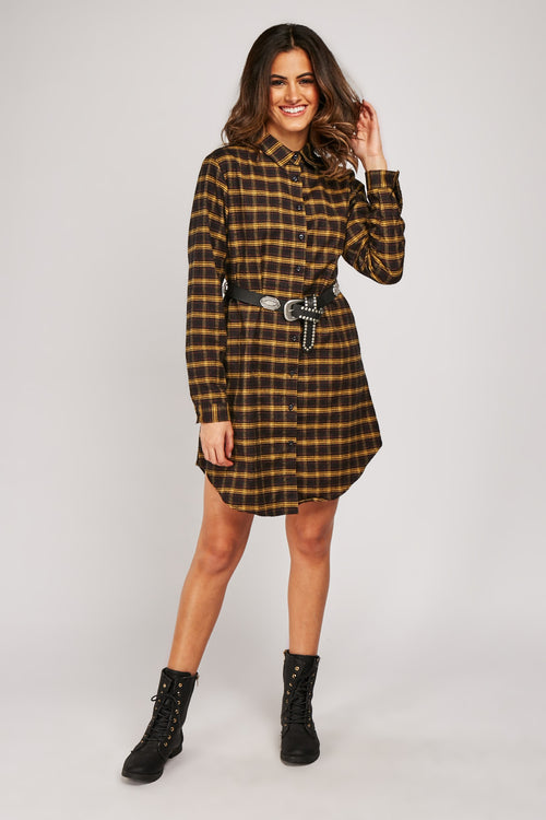 Emmy Longline Checkered Print Shirt Mini Dress-Woven Trends