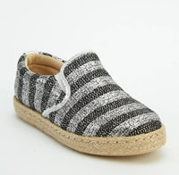 Diamond Metallic Effect Stripe Finish Espadrille Shoes-Woven Trends