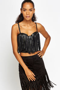 Alayna Fringed Black Bust Crop Top-Woven Trends