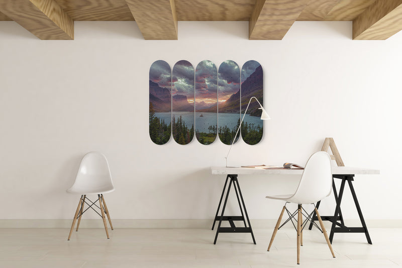 Mountain Sky And Trees 5 Piece Skateboard Deck Art Decor