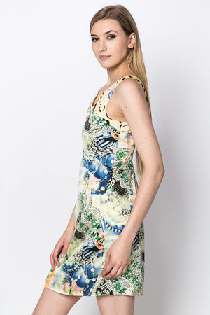 Allie Animal and Floral Print Zip Front Dress - Woven Trends