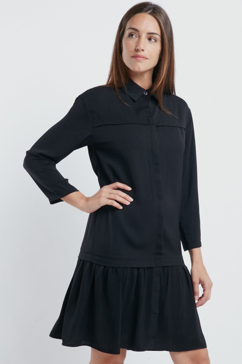 Smock Pleat Layered Casual Dress