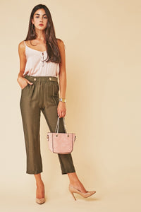 Akosua Button Waist Tapered Decorative Girls Trousers