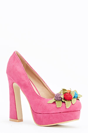 Jessica 3D Embellished Flower Design Block Heel Shoes-Woven Trends