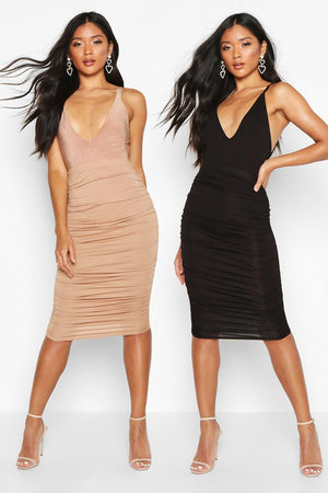 Trinity Duo Ruched Jersey Midi Skirt-Woven Trends