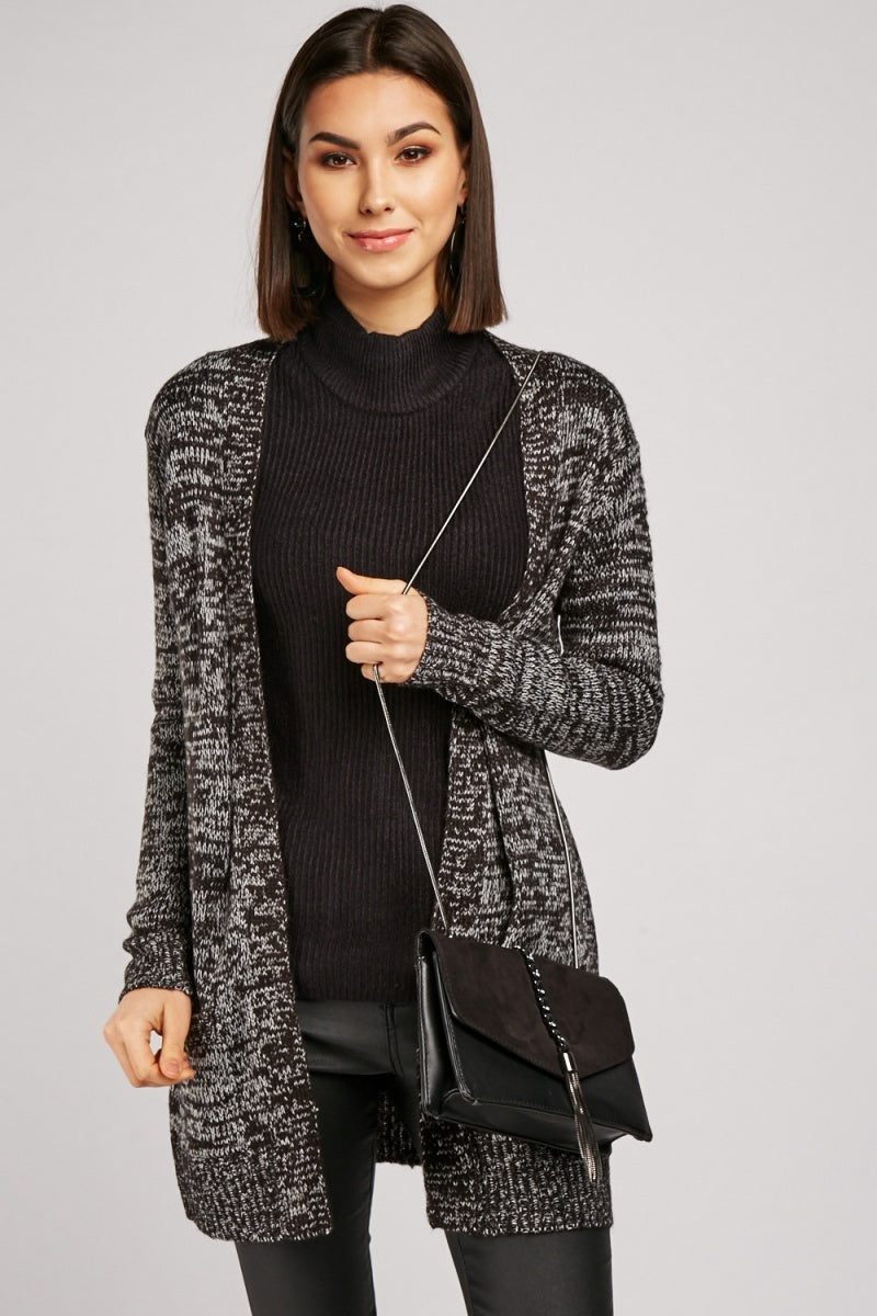 Sasha Speckled Knit Longline Cardigan-Woven Trends