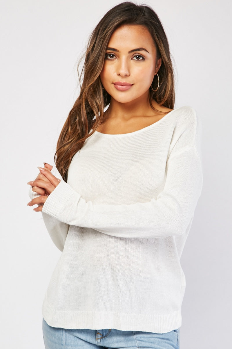 Iyana Block Knit Jumper With Bow Back Detail-Woven Trends