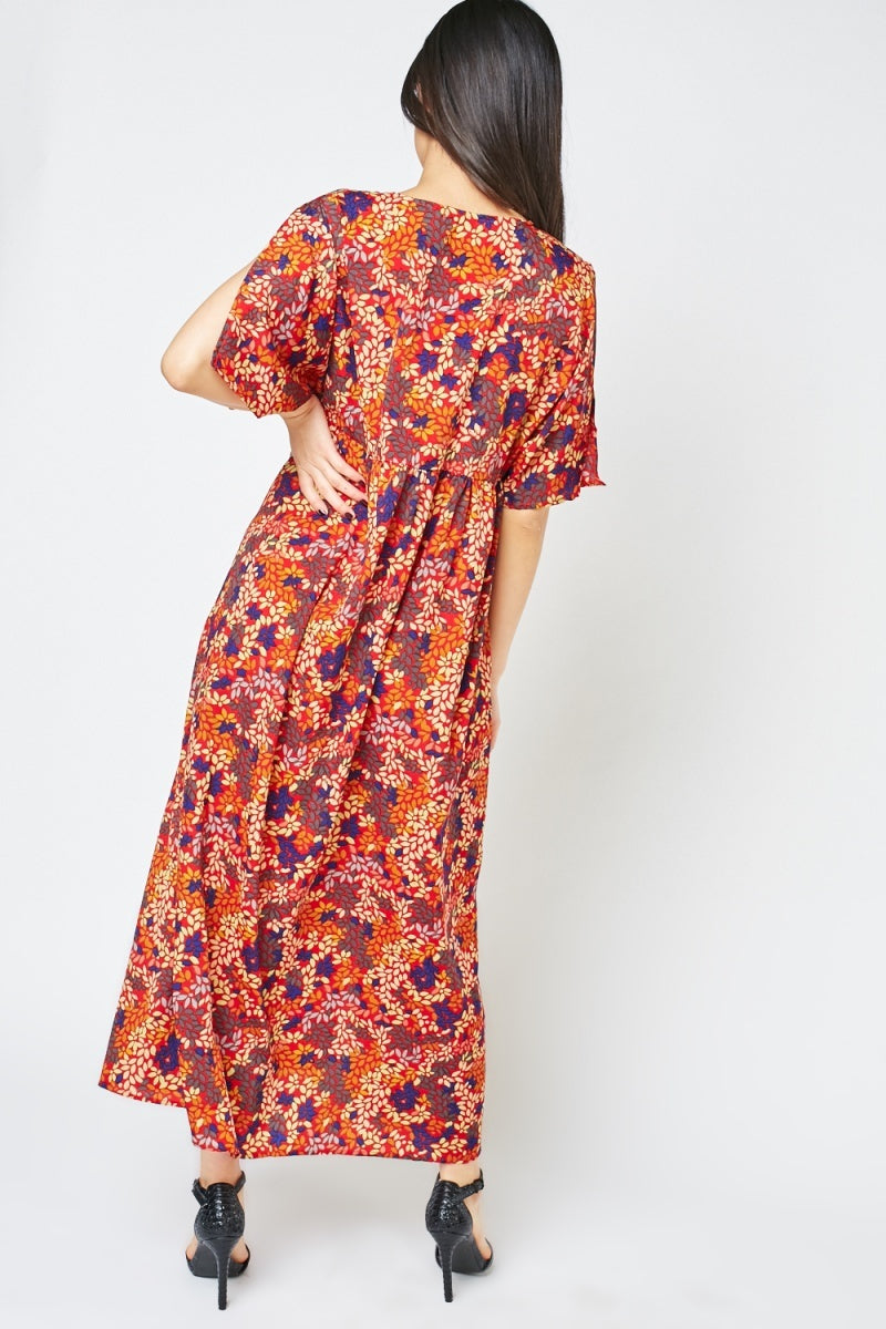 Taniyah Slit Front Style Midi Floral Print Dress-Woven Trends