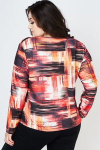 Eliana Long Sleeve Abstract All Over Print Top-Woven Trends