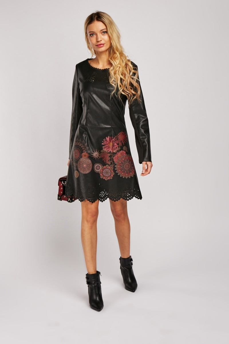 Nathalia Floral Print Laser Cut Leather Dress-Woven Trends