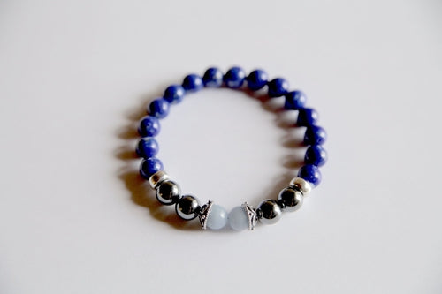 Aquarius Angelite Lapis & Hematite Stone Bracelet Jewellery - Woven Trends Fashion Collection