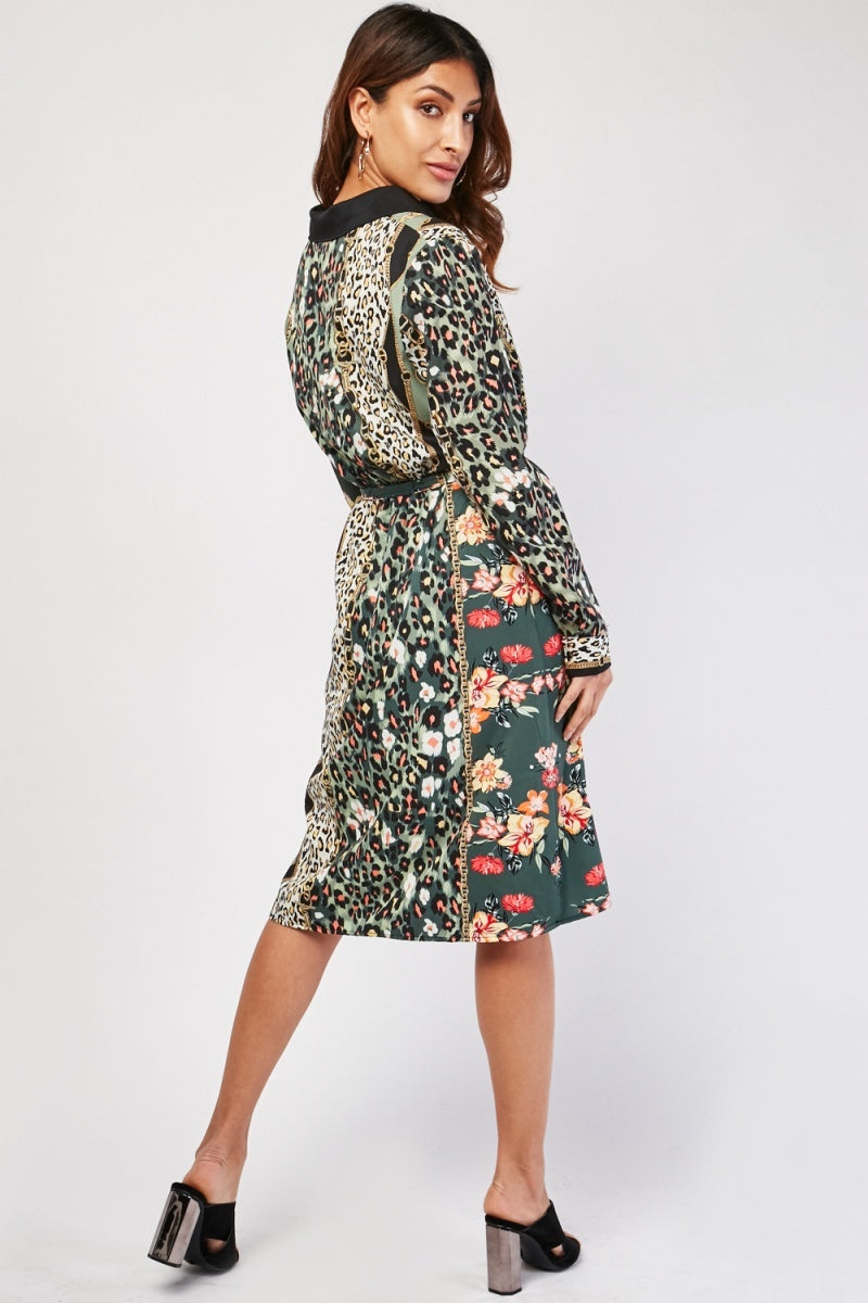 Crystal Wild Contrast Print Midi Shirt Dress
