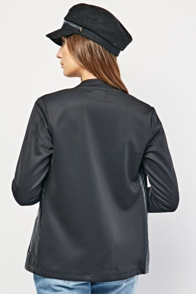 Natalia Quilted Contrast Faux Leather Jacket-Woven Trends