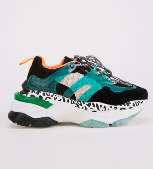 Abena Color Block Animal Print Trainers-Woven Trends