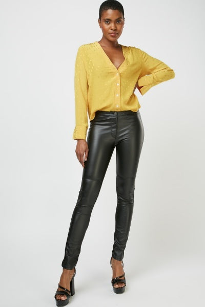 Ingrid Contrasted Datex Spanx Faux Leather Women's Trousers-Woven Trends