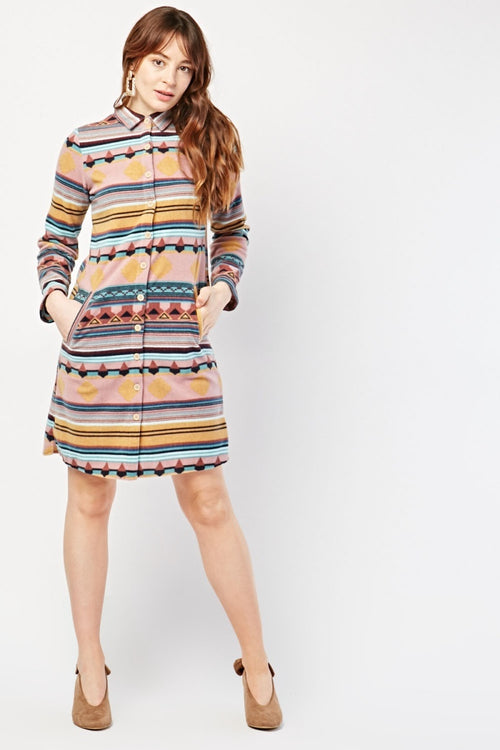Jade Traditional Aztec Print Shirt Dress-Woven Trends