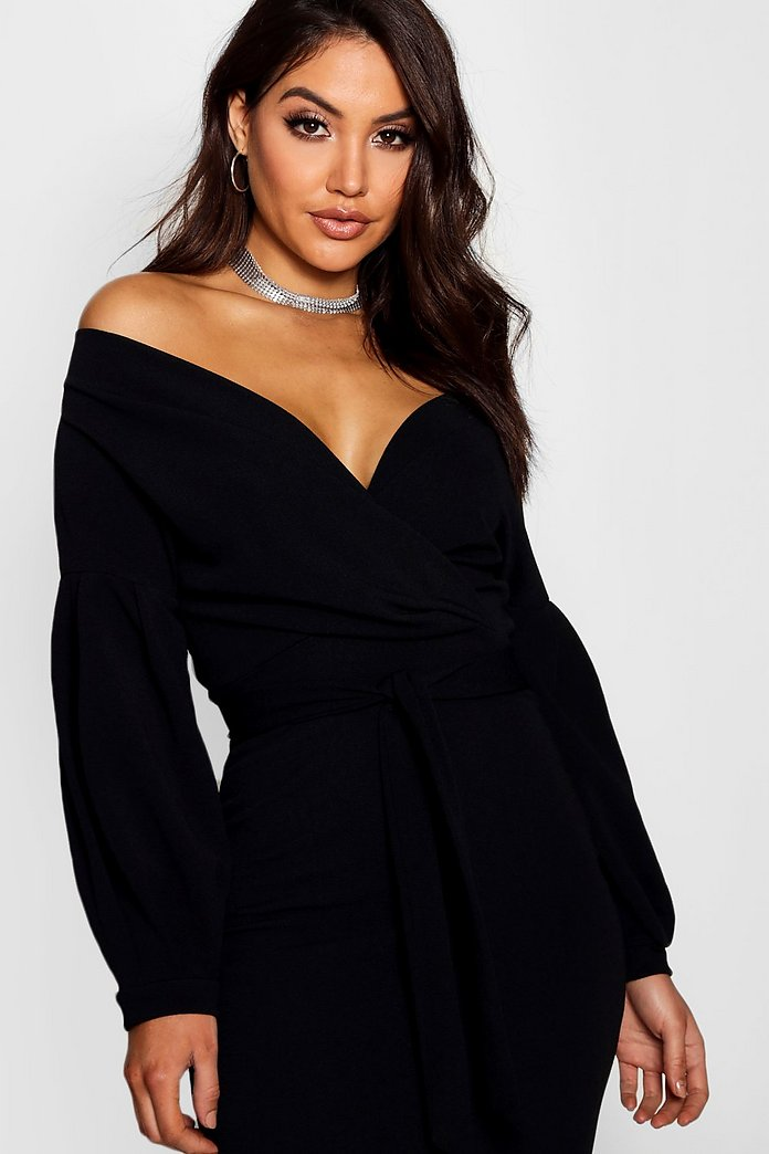 Josie Off Shoulder Wrap Bodice Midi Bodycon Dress-Woven Trends