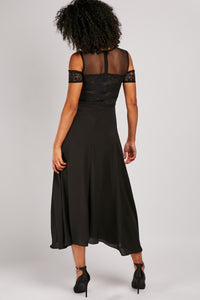Letty Lace Insert Flared Maxi Dress-Woven Trends