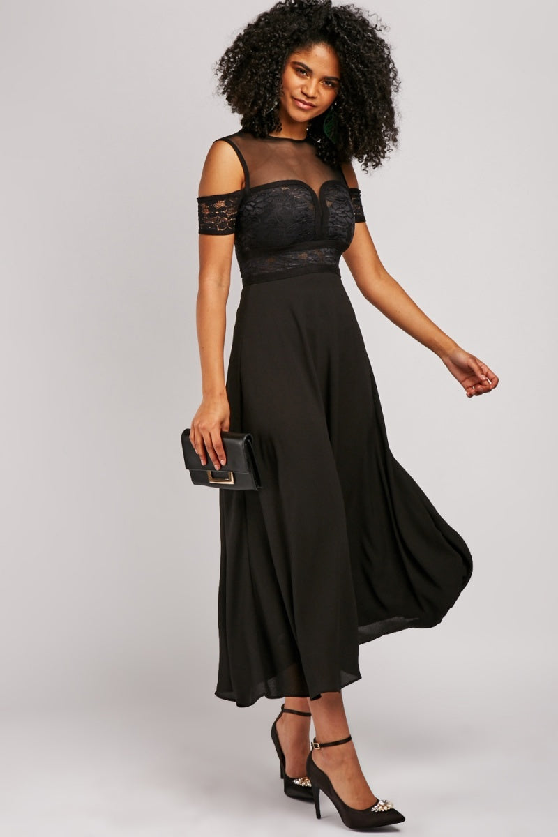 Letty Lace Insert Flared Maxi Dress