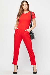 Kelsie Crochet Detail Panel Sewn Jumpsuit-Woven Trends