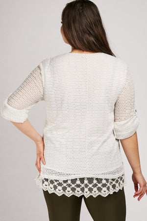Hadassah Lace Overlay Loose Knit Blouse Top-Woven Trends